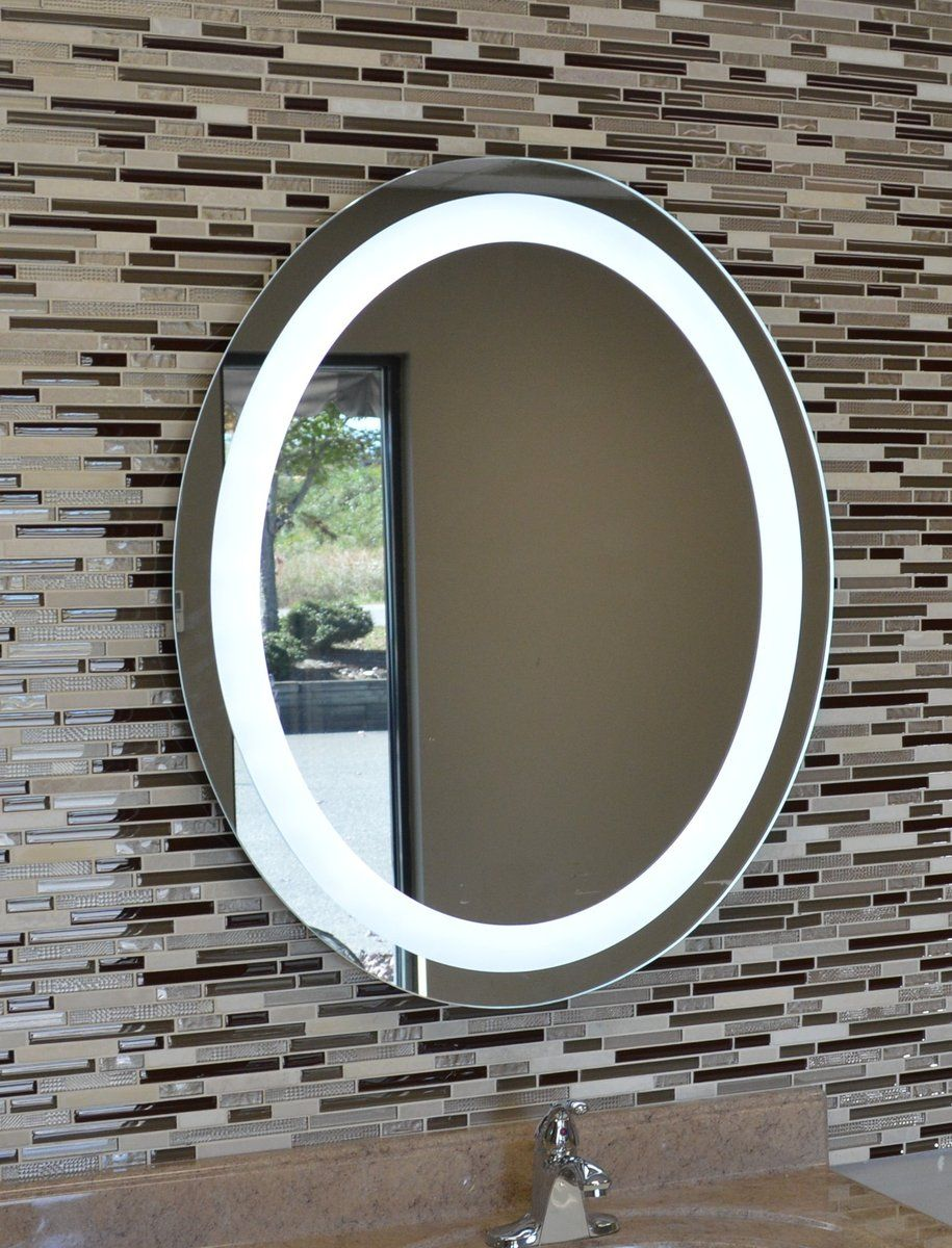 Front Lighted Led Bathroom Vanity Mirror 30 X 36 Oval Wall