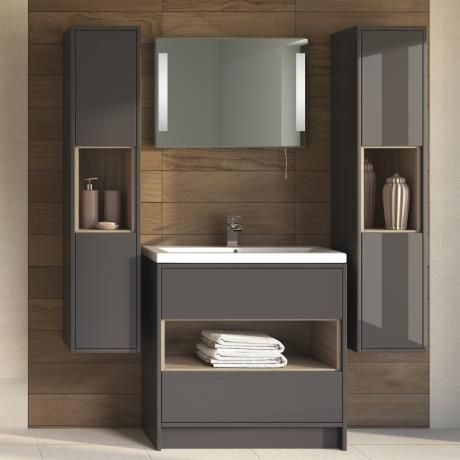 gloss gloss modular bathroom furniture collection utopia coast wall hung tall unit grey glossdriftwood online hudson reed