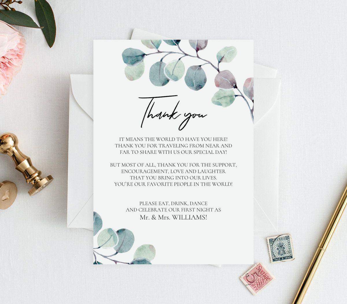 Editable PDF Thank You Card 5x7, 4x6 Thank you note
