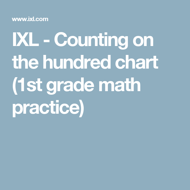 IXL - Counting on the hundred chart (1st grade math practice)   Math ...