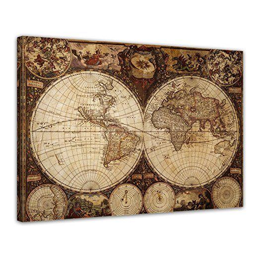 Bilderdepot24 Kunstdruck Weltkarte Vintage - Bild auf Leinwand