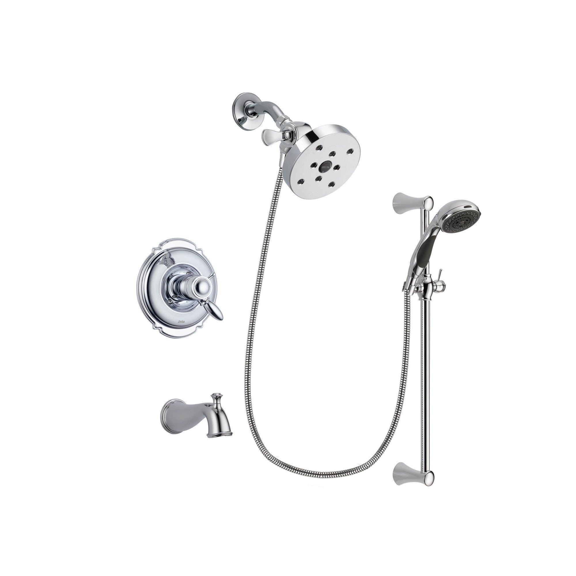 Delta Victorian Chrome Finish Thermostatic Tub and Shower Faucet ...