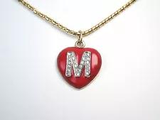 14K gold chain necklace with vermeil vintage gold leaf design and bright red garnet gem