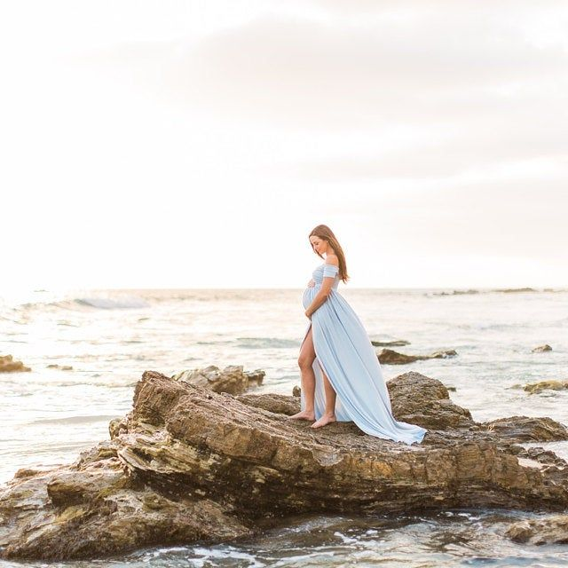 Photo of Maternity Gown for Photo Shoot • Kiara Gown • Short Sleeve Maternity Dress • Off The Shoulder Maternity Gown • Photo Shoot Dress