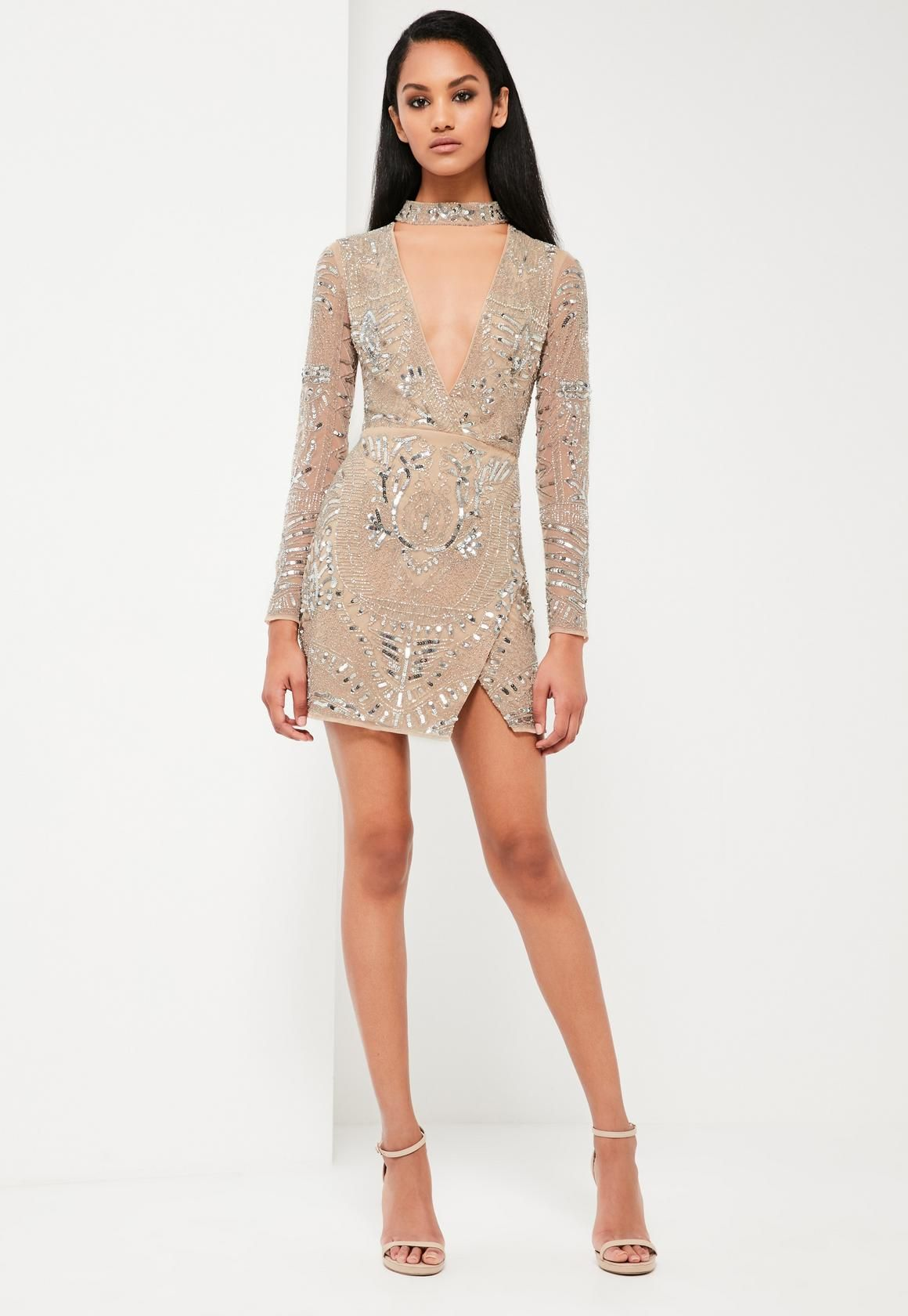 Peace Love Silver Choker Neck Embellished Dress - Silver Missguided FQxKK