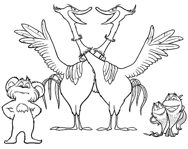 The Lorax Movie Animal Characters Coloring Pages