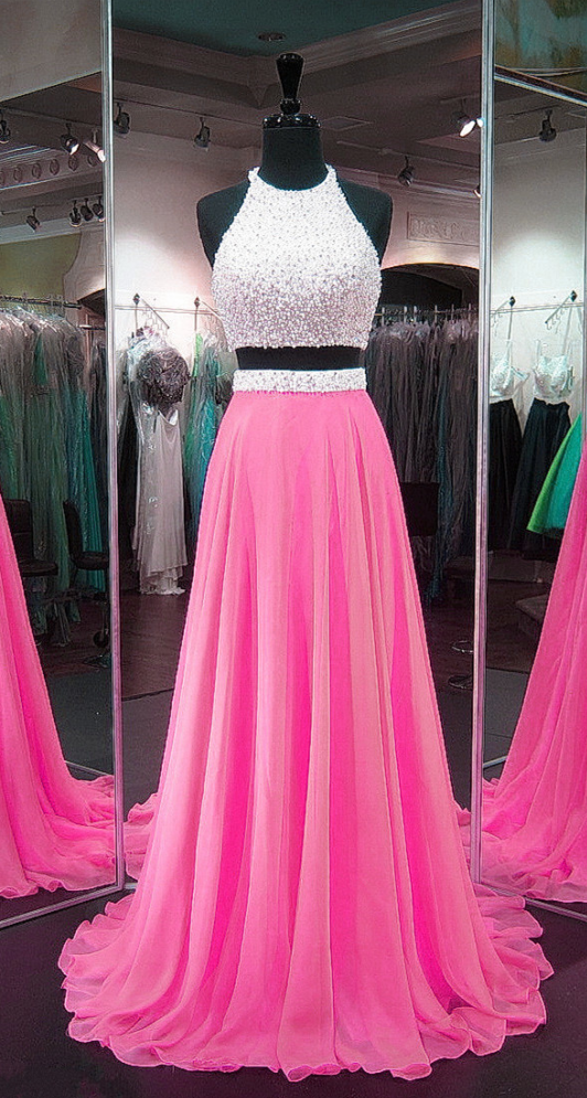 Pink Prom Dresses,Chiffon Prom Gowns,Two Piece Prom | isstyle ...