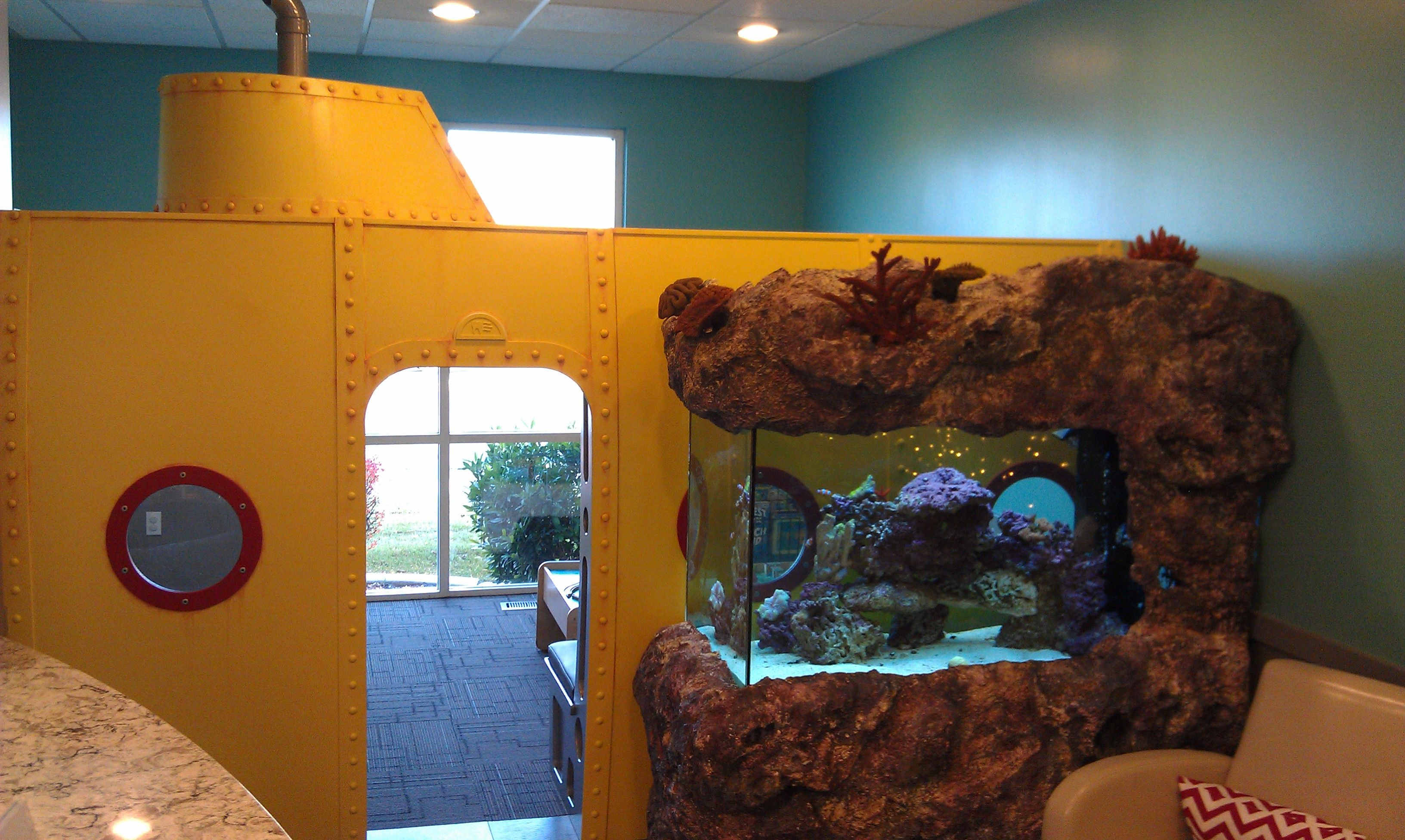Oceansurf Theme Custom Built Submarine And Aquarium In Pediatric Dental Office