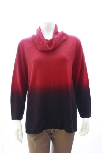 New Elementz Red Cowl Neck Sweater Size L