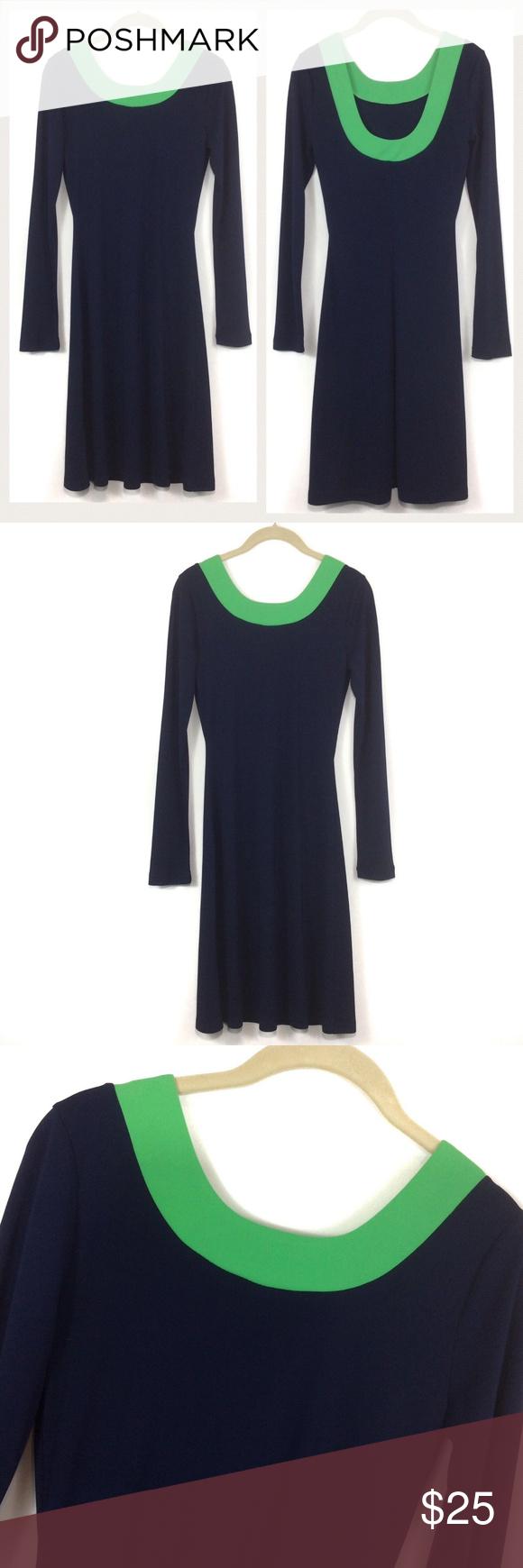 Isaac Mizrahi Target Scoop Back Navy Green Dress Green Long Sleeve Dress Navy And Green Clothes Design [ 1740 x 580 Pixel ]