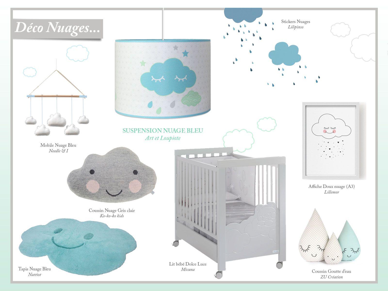 Décoration chambre bébé thème nuages. Adorable luminaire