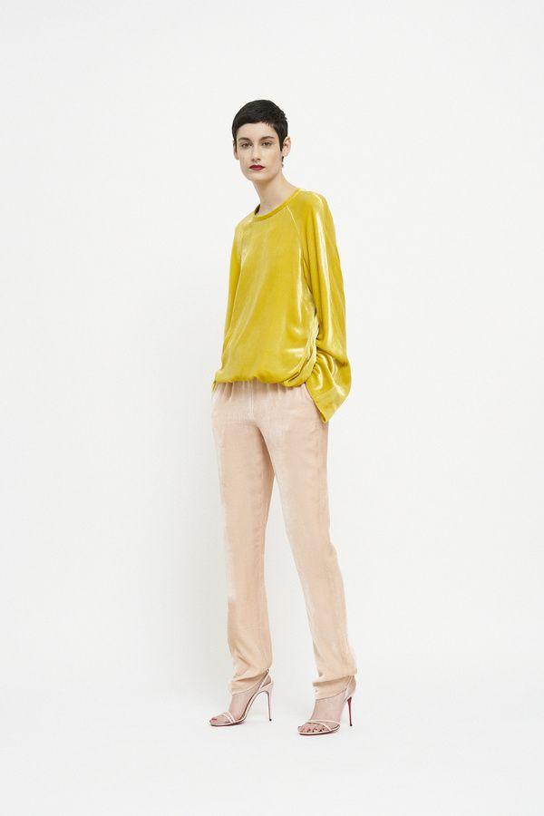 aa2692d87dd Martin Grant Designer Velvet Pants & Silk Top from his Autumn Range 2019