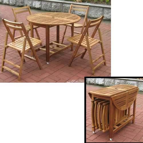 OUTDOOR FOLDING WOOD TABLE AND CHAIR SET