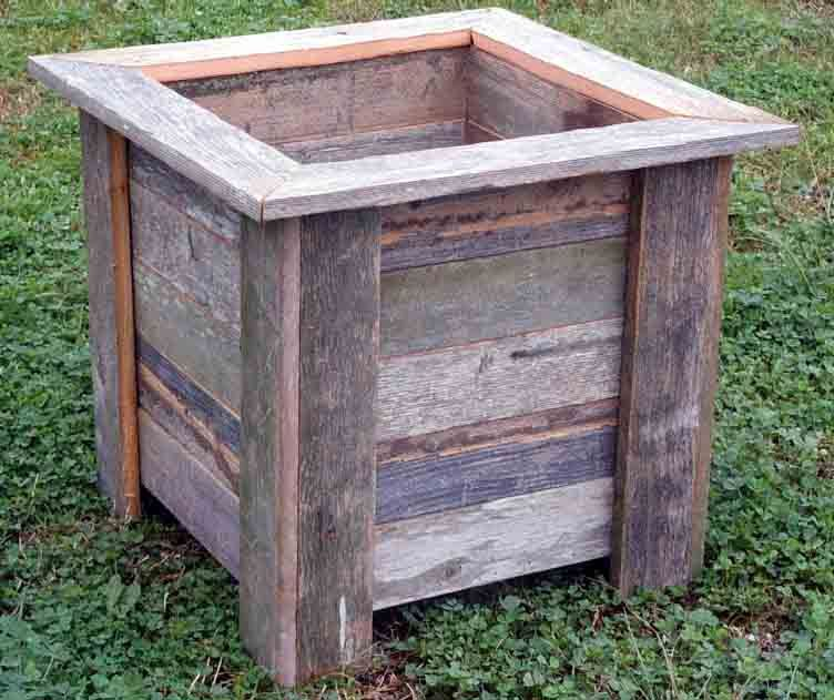 Diy Square Planter Box: Rustic Barnwood/Pallet 16 Inch Square Planter Box