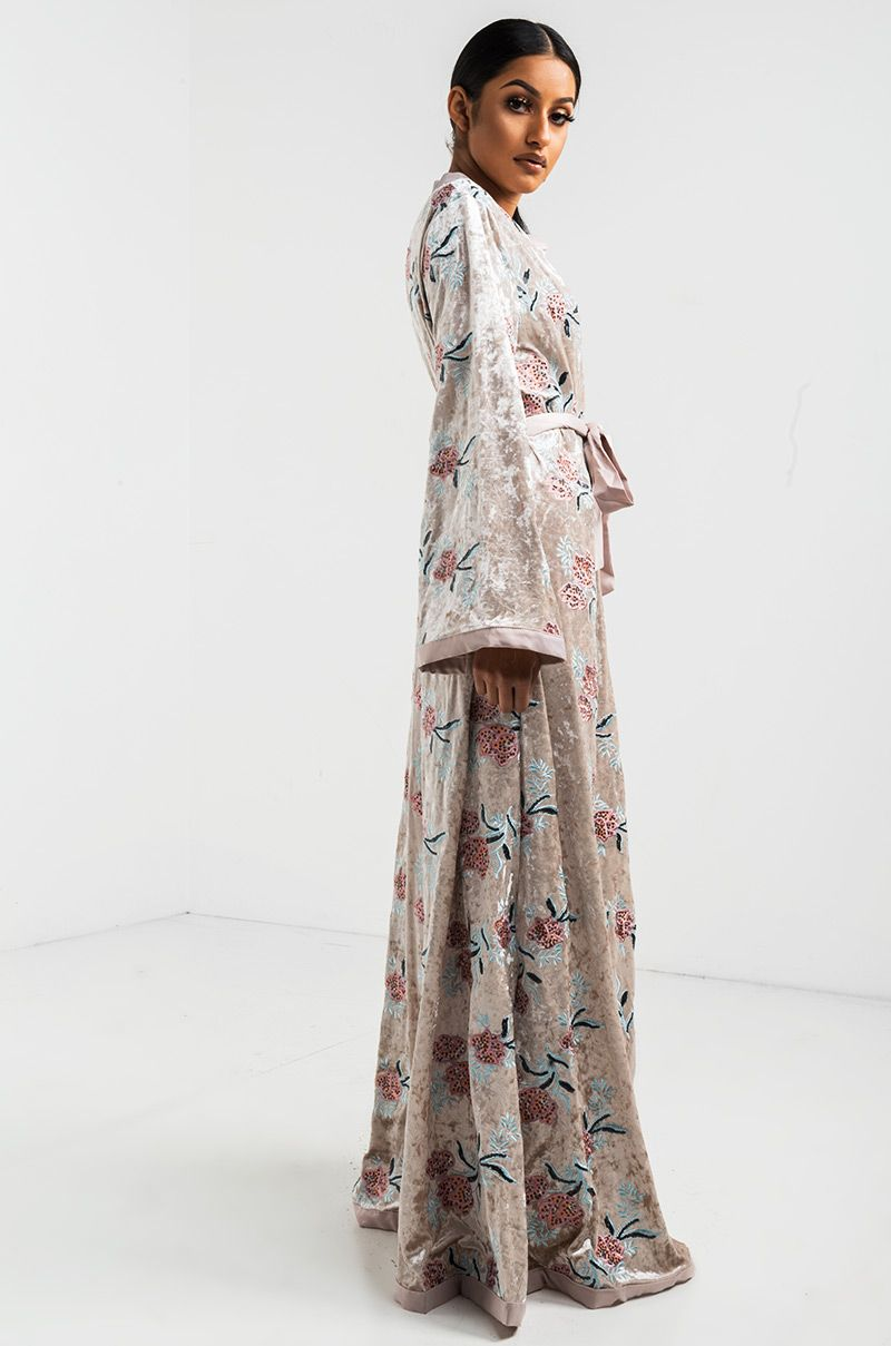 AKIRA Velvet Floral Embroidered Longline Wide Sleeve Duster in Taupe ...