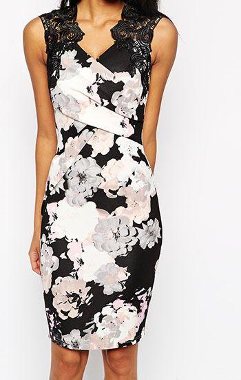 07b905d29a4cb ASOS(エイソス) の女性らしい奇麗なラインを表現してくれるタイトドレス (Lipsy Allover Floral Print Lace Top  Bodycon Dress)です。通販だからできる割引価格でお ...