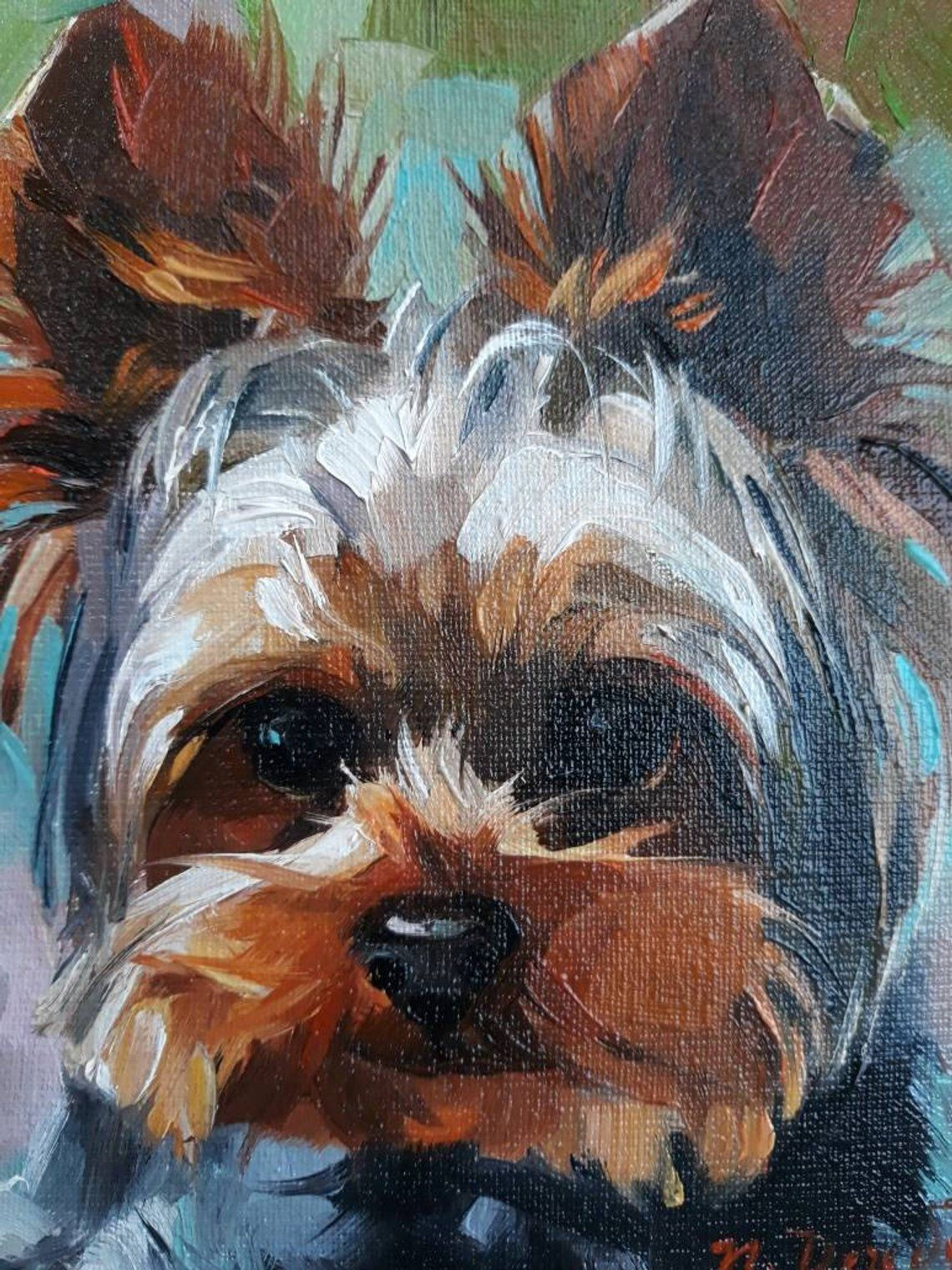 Yorkshire terrier art portrait from photo Yorkie art gifts