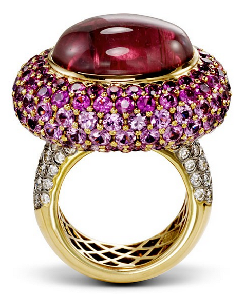 BURGUNDY POOL  Pink Sapphires surround the large Rubellite center stone which is accented with sparkly white diamonds along the band. A stunning burgundy pool of jewels that will no doubt be a show stopper.