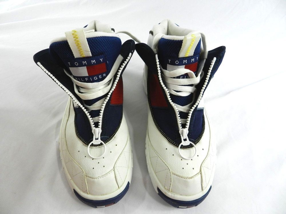Vintage Men's Size 10.5 White Tommy Hilfiger Athletics 3M Zip Sneakers Bold  Logo