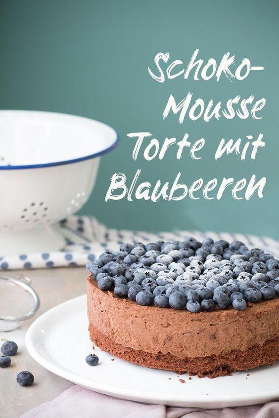 Schoko Mousse Torte mit Blaubeeren - kreativfieber