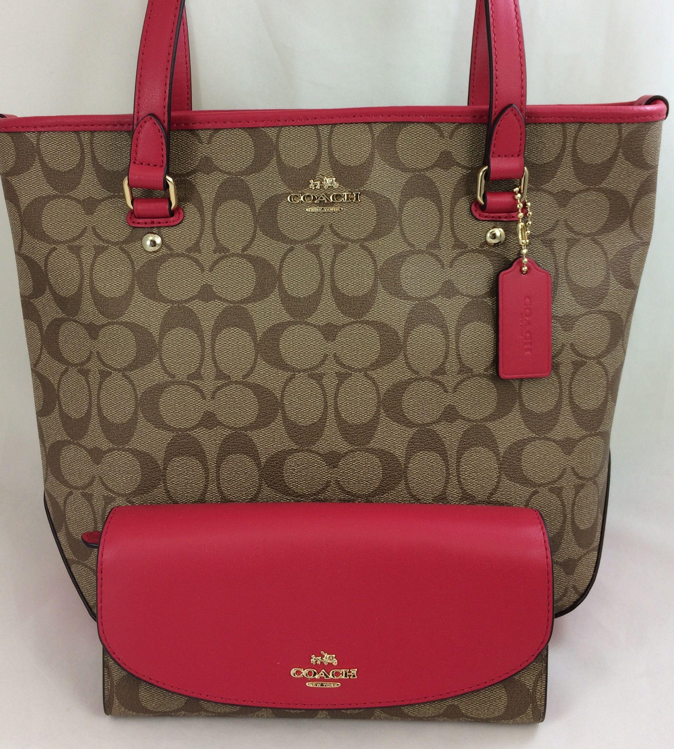 d7958b4a5682 New Authentic Coach F58294 Zip Top Tote Purse Handbag Shoulder Bag  Khaki Bright Pink+ Wallet