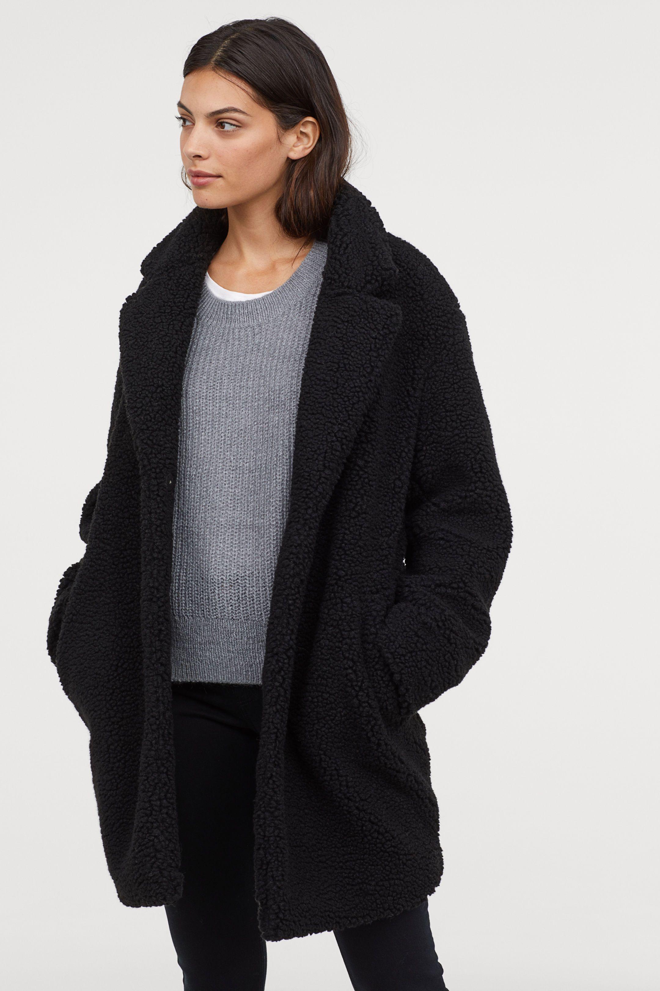 Long Pile Coat Black Ladies | H&M US 1 | Faux shearling