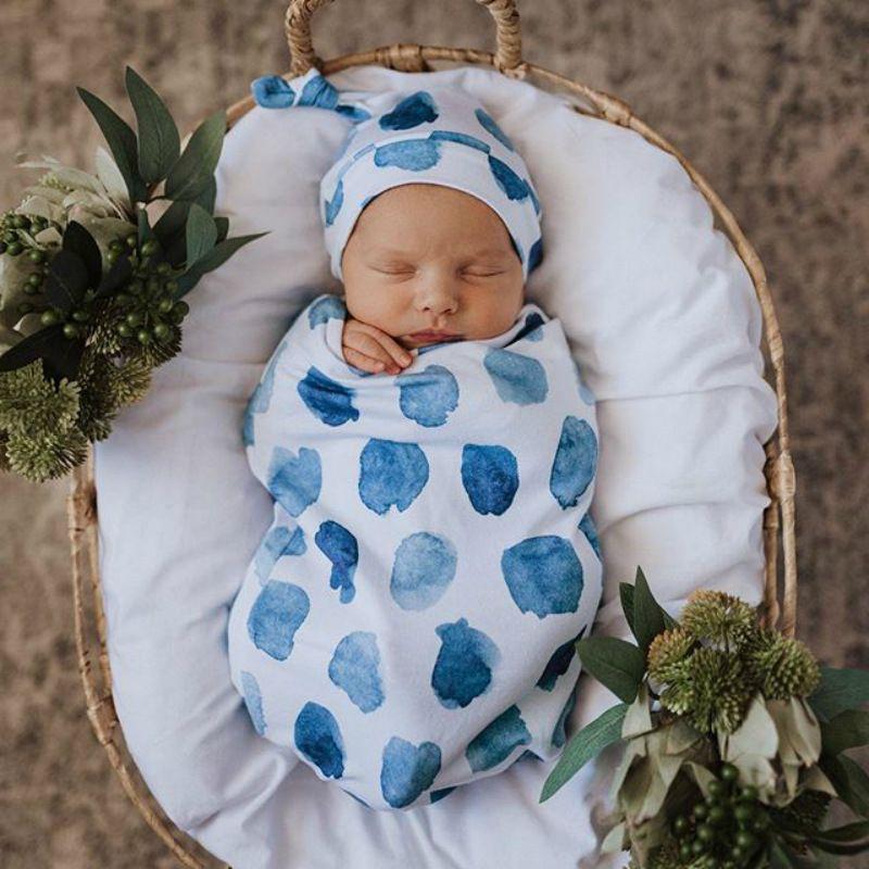 Newborn Baby Boy Cocoon Swaddle Blanket Sleeping Swaddle Muslin Wrap Hat Lovely