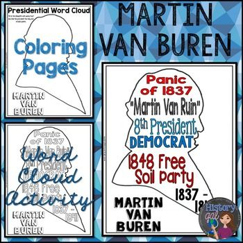 martin van buren coloring page and word cloud activity