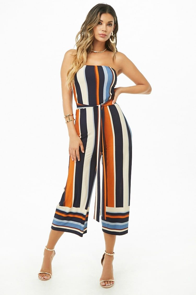 Multicolor Striped Tube Culotte Jumpsuit My Style Jumpsuit