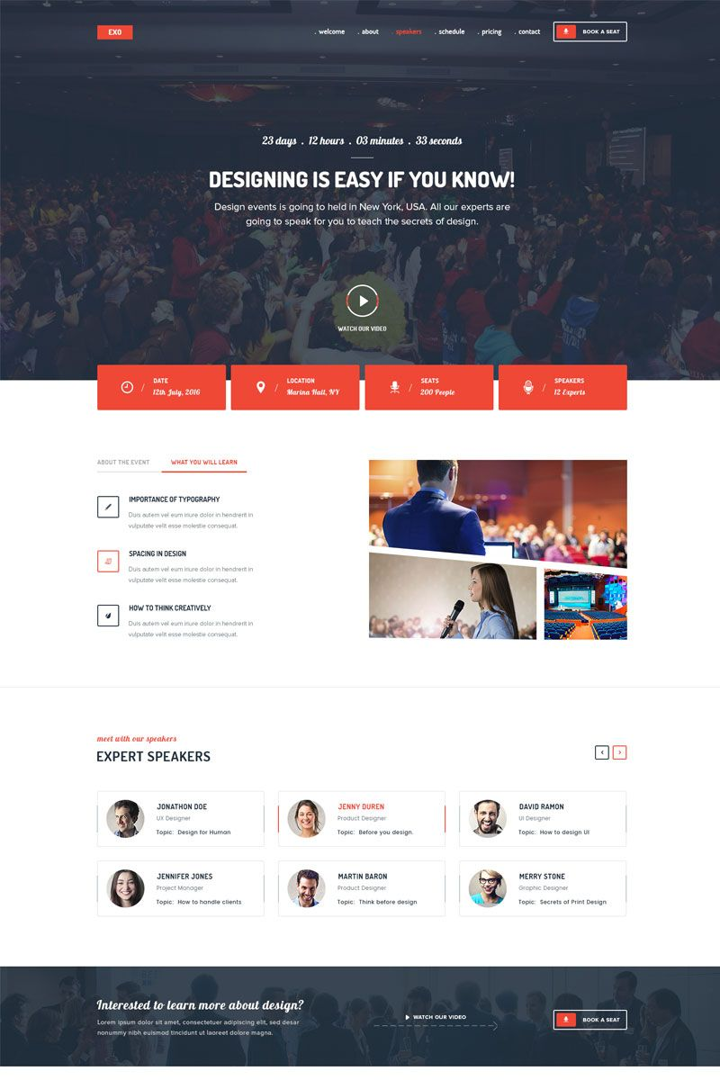 exo event landing page template design saves page template