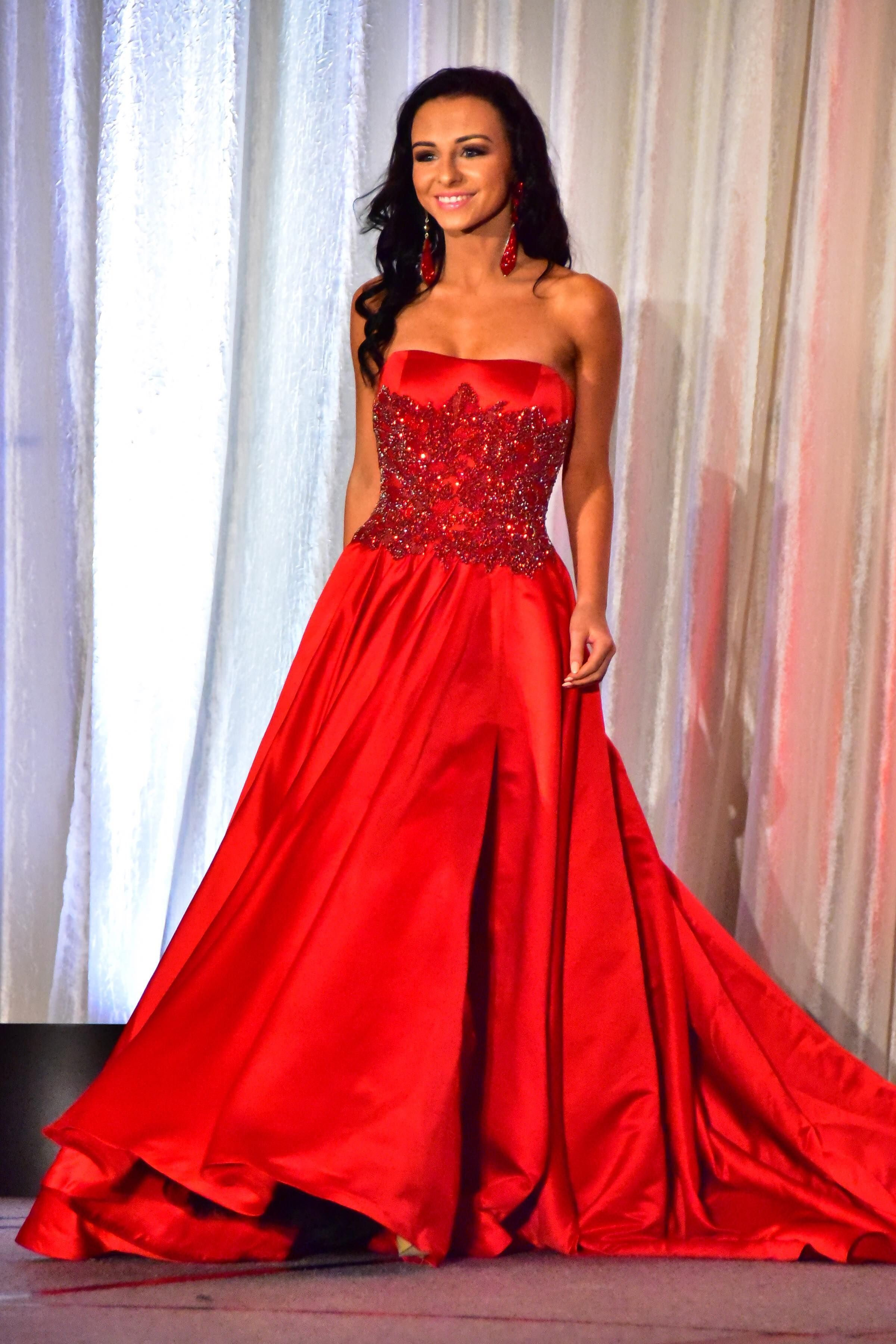 Red pageant gown worn at American pageants | Dresses | Pinterest ...