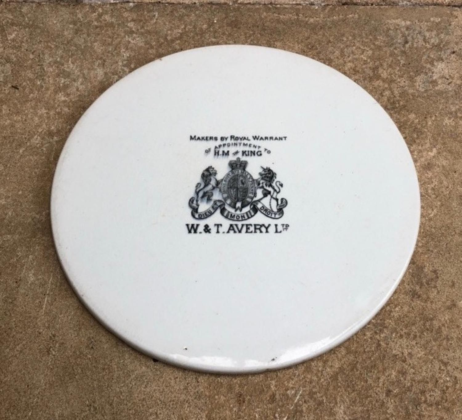 Edwardian Avery Scale Plate By Appointment To Hm The King In