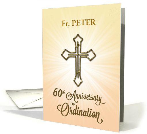 60th Anniversary Of Ordination Invitation Starburst Custom Name Card