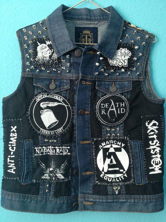cb86fee8d4150 Crust Punk Studded Small Womens Denim Vest by STUDDEDnSTITCHED