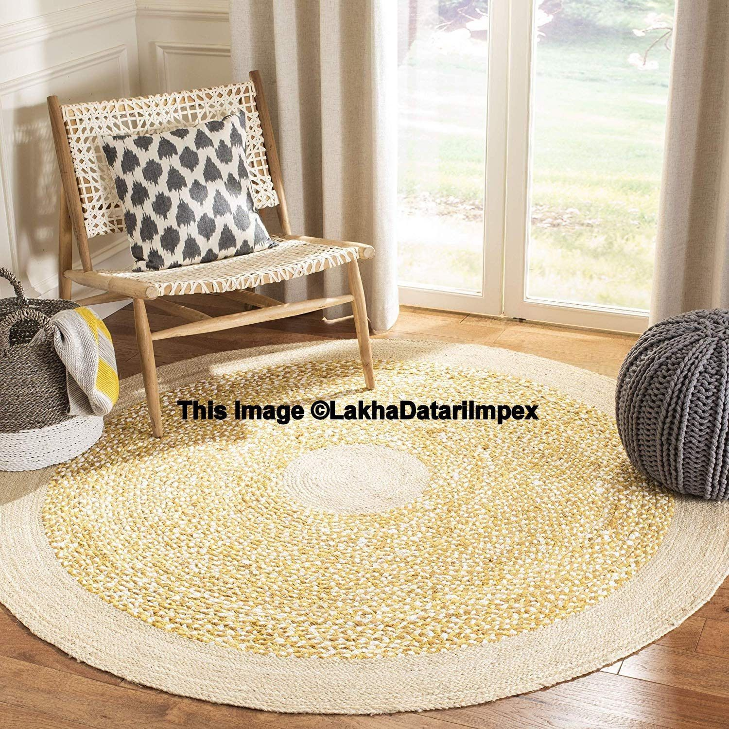 Rag Rug Braided Round Rug Meditation Mat Mandala Rug Bohemian Decor Colourful Area Rug Circle Rug Ornament Rug Meditation Mat 9x9 Area Rug Decor Modern Round Rugs Jute Round Rug