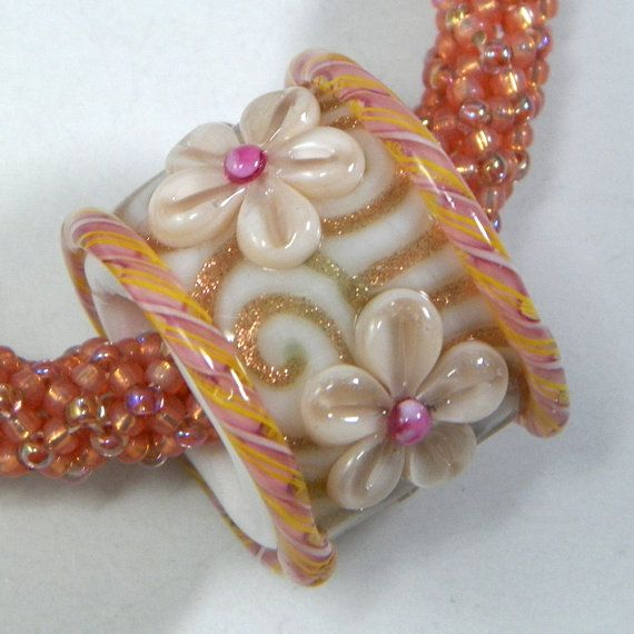 Gorgeous Lampwork Peach Gold and Pink Barrel by starlightdesigns, $35.00