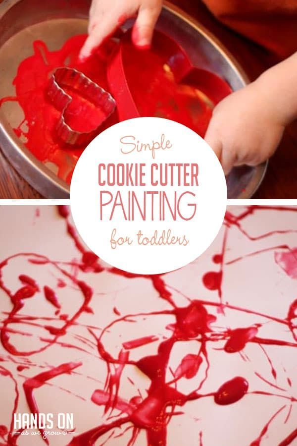Cookie Cutter Painting For Valentine S Day Preschool Art