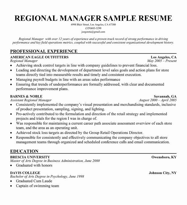 Store Manager Job Description Resume Lovely Regional