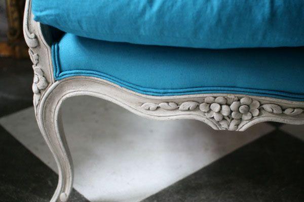 Francuska przepiękna lazurowa berżera. Bogato zdobiony Ludwik XV z pocz.20w.po renowacji