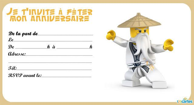 Favori 8 invitations anniversaire Lego Ninjago | 123 cartes | Enfants  XI46
