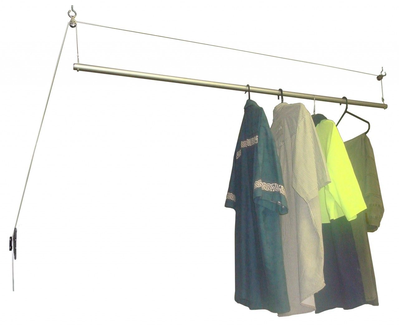 versaline pulley rail airer uses a very simple pulley system to