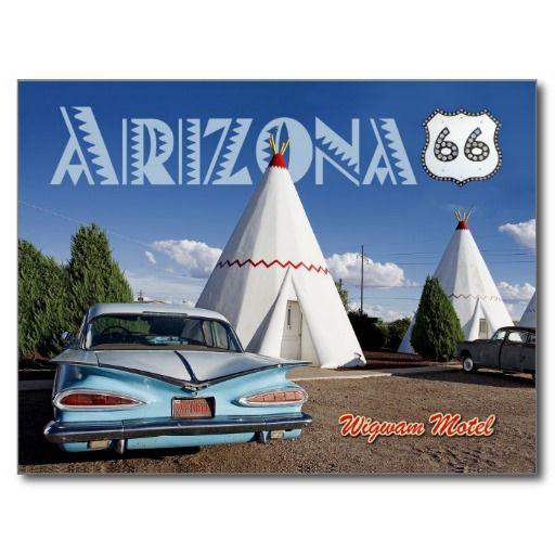 Chevrolet Flagstaff: Historic Wigwam Motel, Route 66, Arizona Postcard