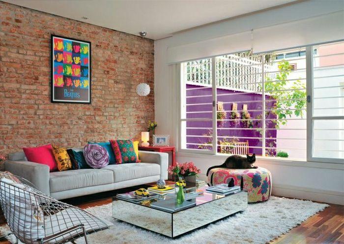 bunte kissen und sch ne wandgestaltung tropical pinterest wohnzimmer einrichtung und. Black Bedroom Furniture Sets. Home Design Ideas