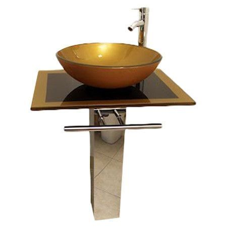 24 Inch Modern Bathroom Vanity Set With Glass Vessel Sink Glass Vessel Sinks Modern Bathroom
