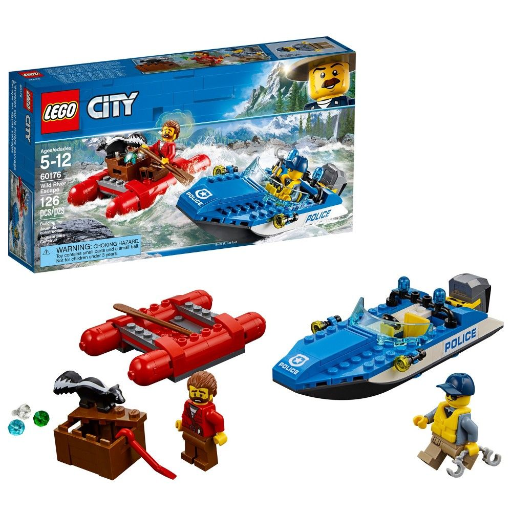 Pick Up Your Badge And Join The Lego City Mountain Police Officers As They Stop A Wild River Escape This Por Kids Toy Features Sdboat With