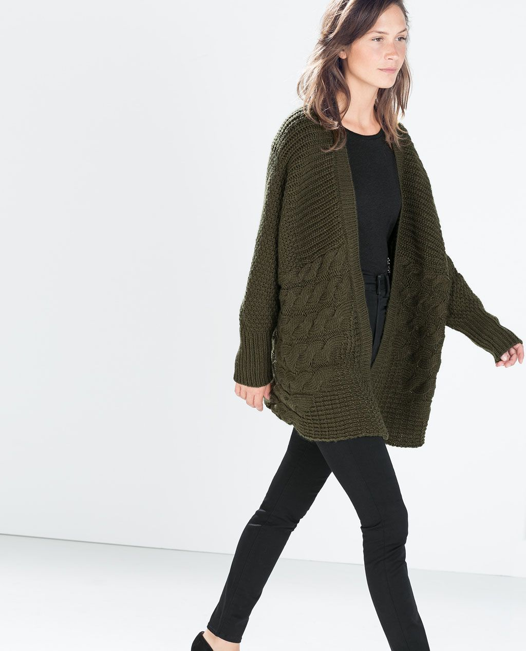 3118dfdf2c0f Image 3 of OVERSIZE CABLE KNIT CARDIGAN from Zara