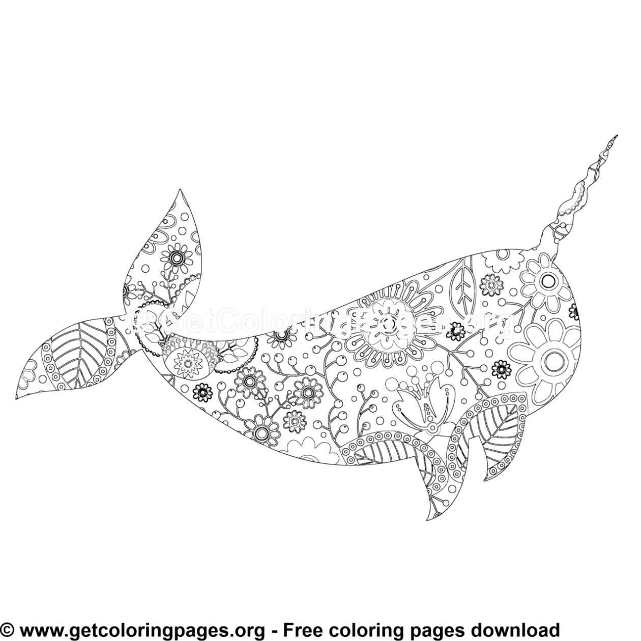 Zentangle Boho Narwhal Coloring Pages Coloring Pages Color Free Coloring Pages