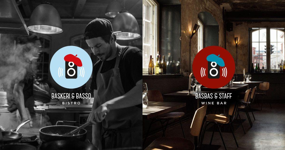 Tunnelmallinen Baskeri & Basso Bistro (sisäpihalla) on auki tiistaista perjantaihin. Kodikas BasBas & Staff Wine Bar (Telakkakadun kulmassa) tarjoilee viiniä ja ruokaa maanantaista sunnuntaihin. Tehtaankatu 27–29, Helsinki.