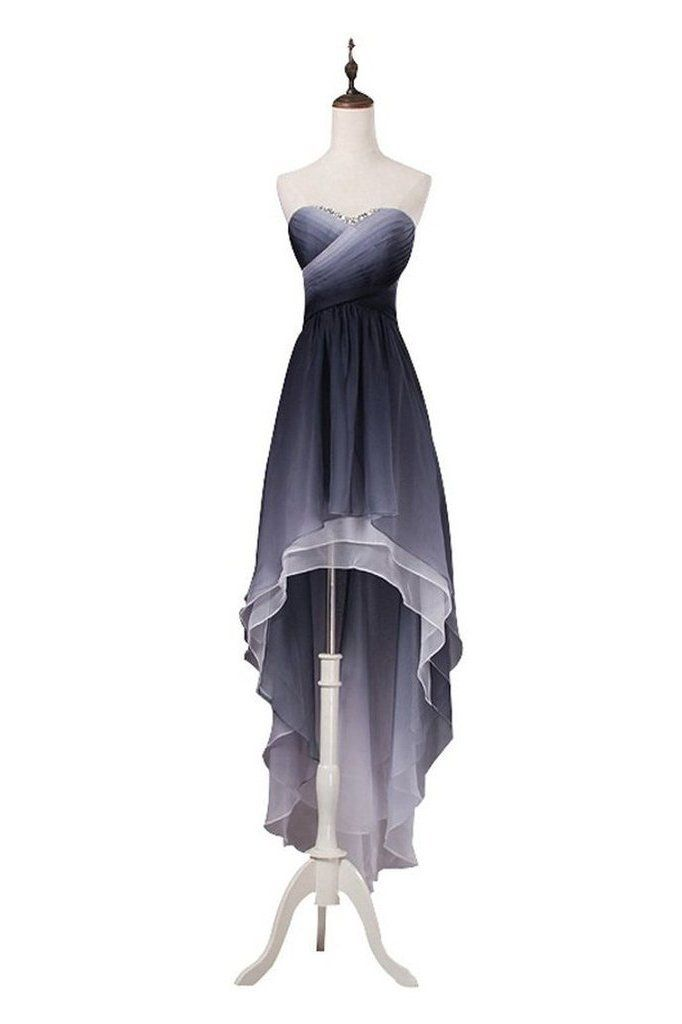A Line High Low Sweetheart Ombre Homecoming Dresses Strapless Ruffles Prom Dress PW852