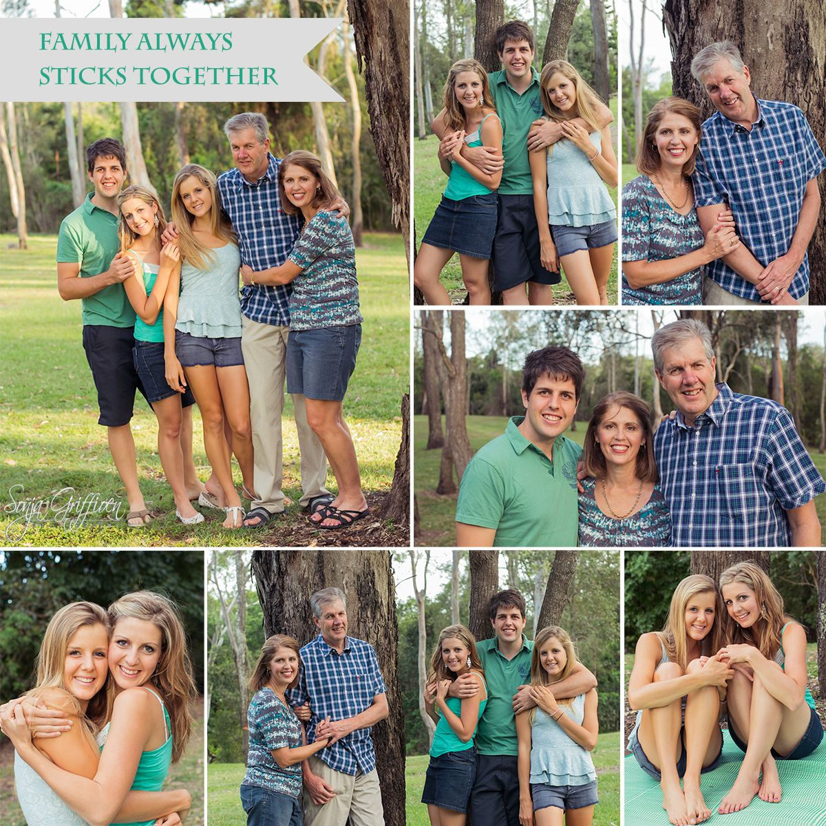 Sonja Griffioen Photography - Griffioen_Family_2013_collage_green family portraits, what to wear, Brisbane Portrait Photographer